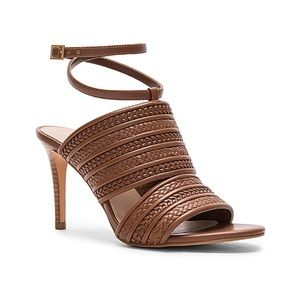 Cognac Leather Braided Woven Wrap Ankle Sandals